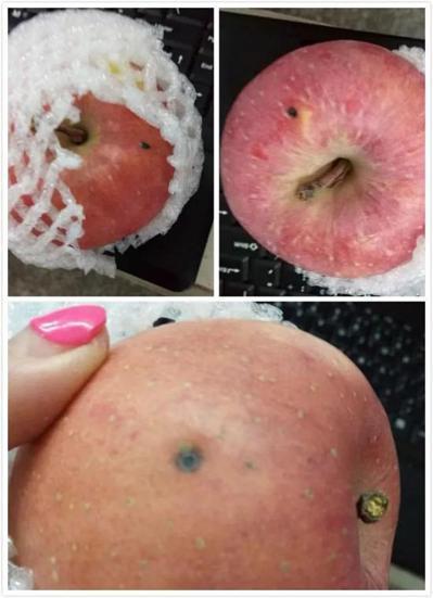 蘋果表面上還有疑似針頭注射後留下的黑點。 圖擷自頭條日報