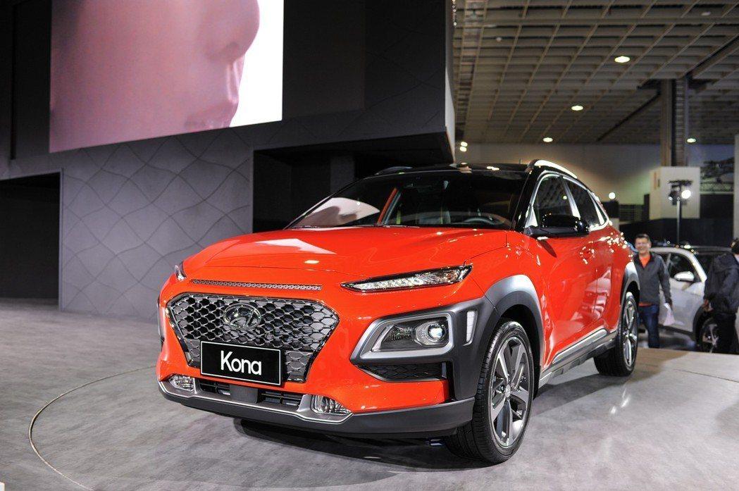 此次展出的 Hyundai Kona 為 1.6t GDI 四缸渦輪車型,最大馬力為 177匹/27公斤米。 記者林鼎智/攝影