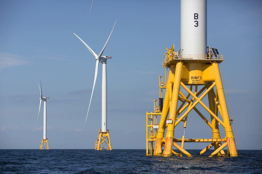 「深水風力」公司在羅德島外海設置的離岸風電場。 (美聯社)