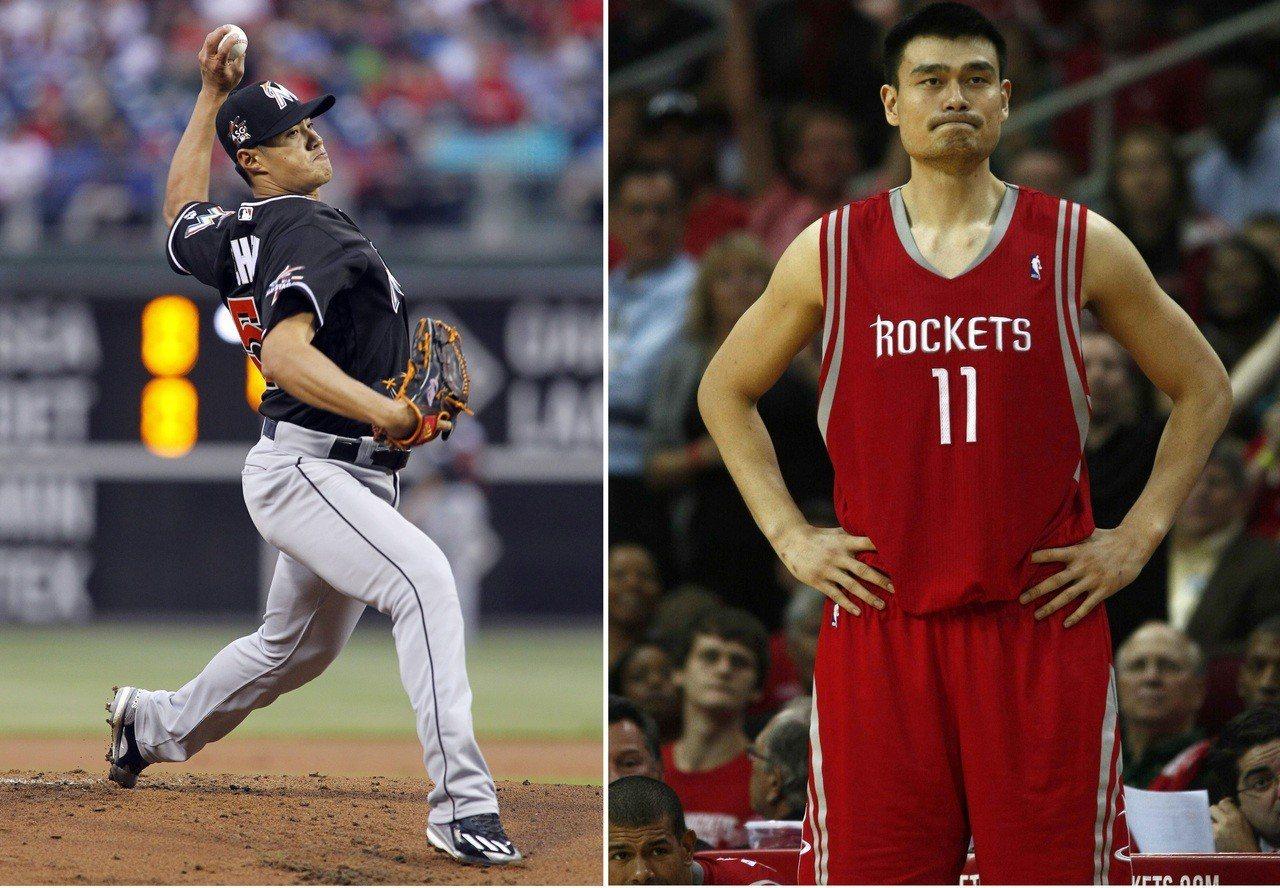 陳偉殷(左)明年年薪將超越姚明紀錄,登華人最高。 美聯社、路透