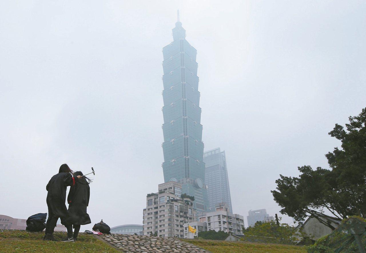 台北市上午受境外空汙影響,天空一片灰濛濛,環保署提醒要參加跨年活動的民眾應多加注...