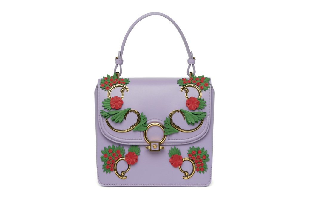 DV One紫色花卉圖騰提包,價格店洽。圖/Versace提供
