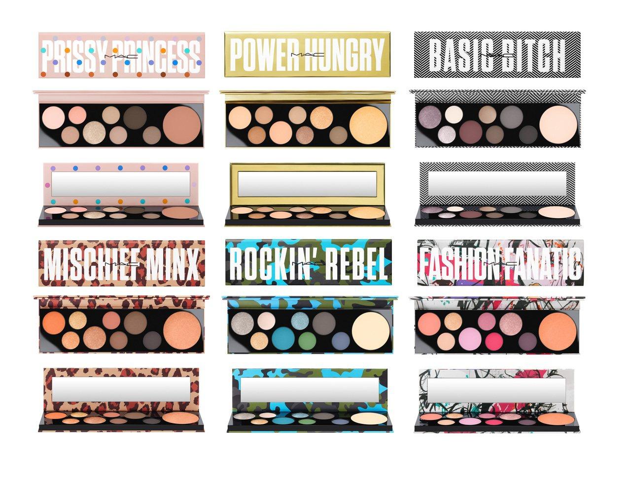 M‧A‧C全新推出限量的壞女孩眼頰盤,共有6組反應不同性格特質的色彩選色。圖/M...