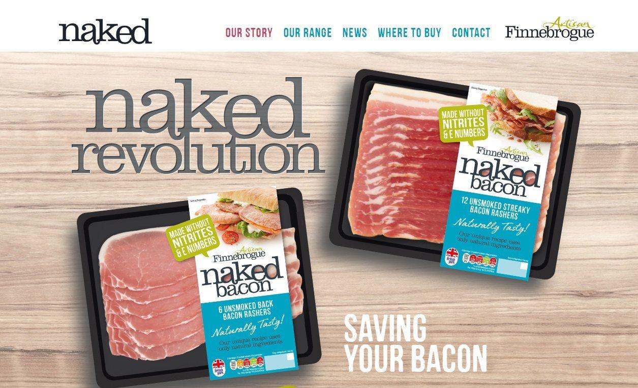 英國食品業者芬恩推出不含亞硝酸鹽的「赤裸培根」,將在1月10日上市。取自芬恩官網