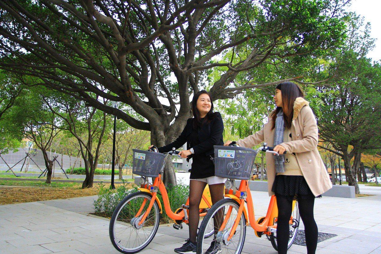 新竹市YouBike在文化局新設站點,順利串聯景點與人潮。圖/新竹市府提供