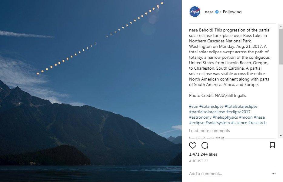 NASA 2017年10大美照第一名,美國日全蝕全景。(圖/NASA)