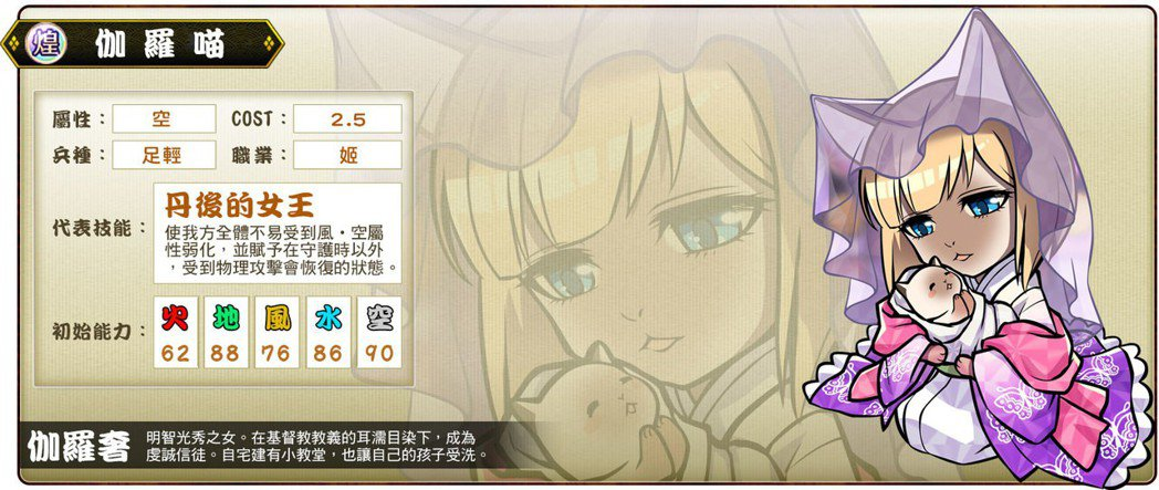 ▲煌卡「伽羅喵」代表輔助型技能「丹後的女王」。