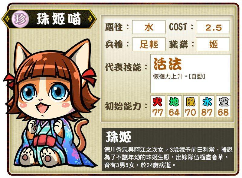珍卡「珠姬喵」代表技能「活法」。