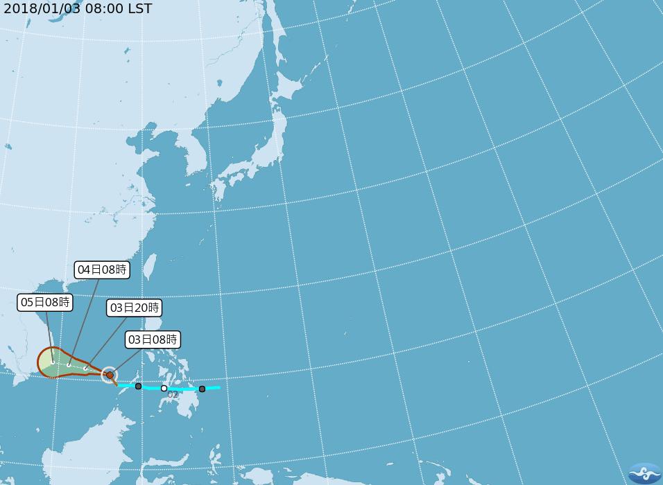 輕度颱風布拉萬對台無影響。圖擷取自氣象局網站