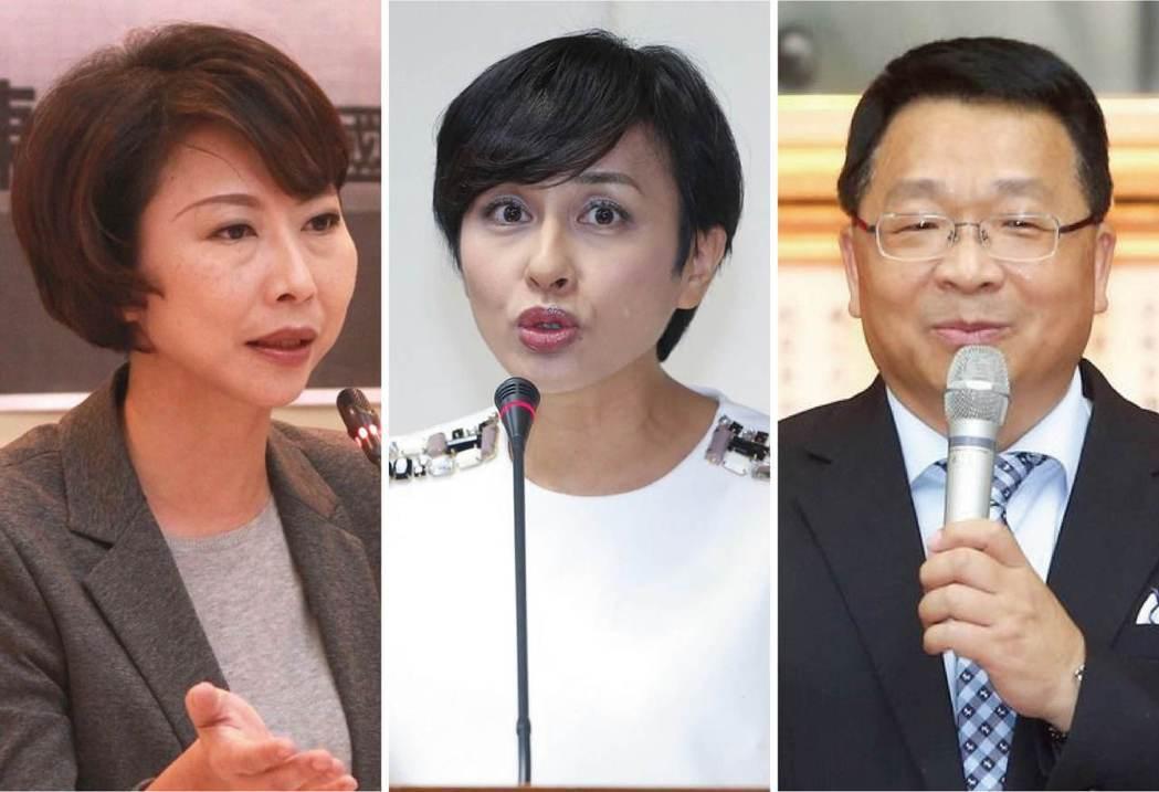因問政犀利被媒體戲稱為,民進黨「立院新三寶」的陳亭妃(左起)、邱議瑩、陳歐珀。 ...