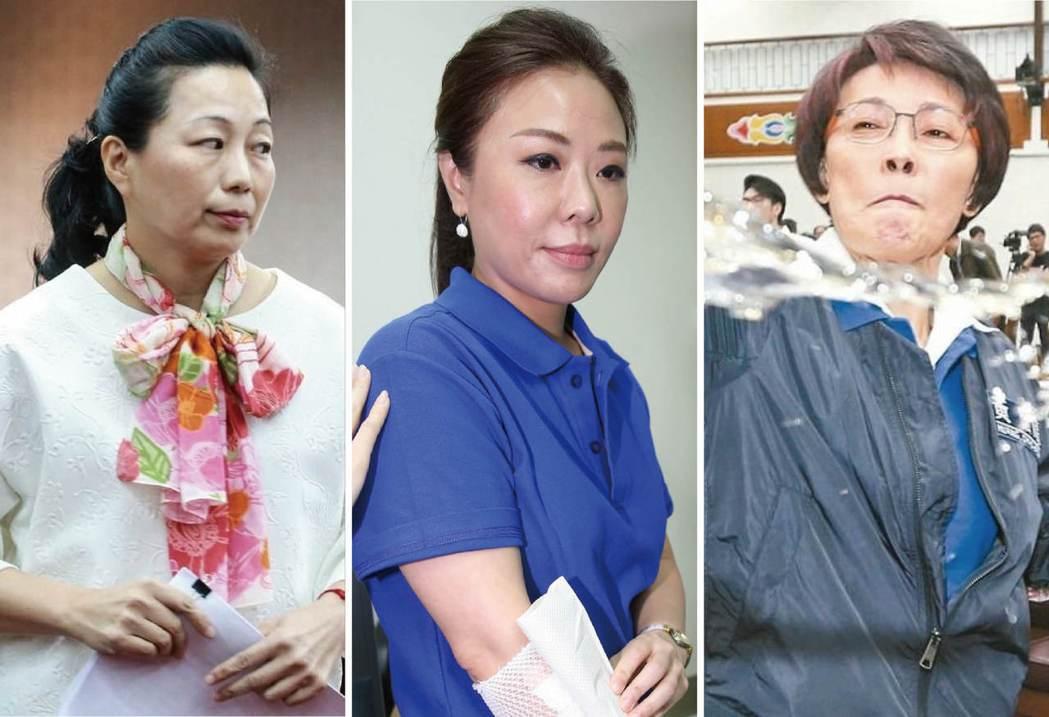 除了綠營三寶,國民黨團也有被網友冠上「藍營三寶」的徐榛蔚(左起)、李彥秀、黃昭順...