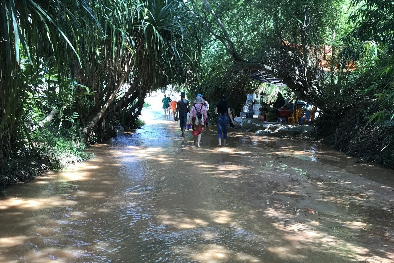 在仙女叢林秘境漫步涉水,讓人彷彿有走入桃花園的錯覺。 記者黃日暉/攝影