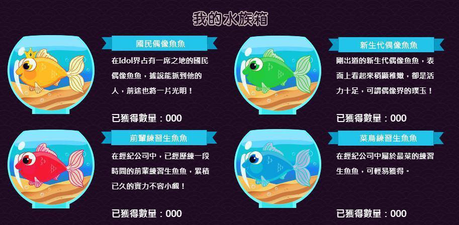 每種魚魚等級不同,等級越高越難撈到!