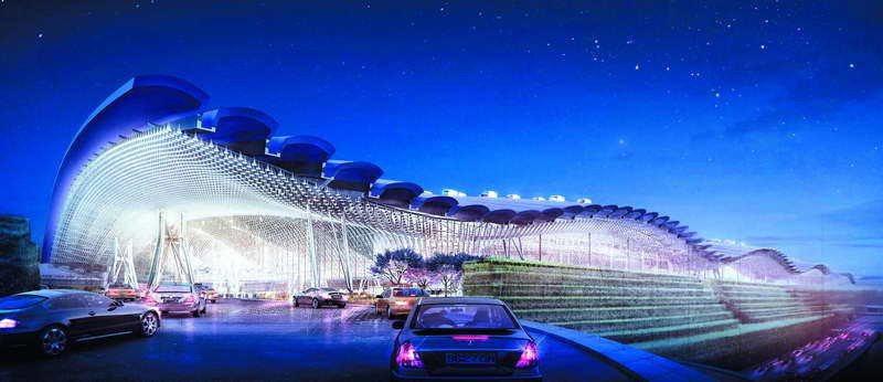 羅傑斯為桃機三航站設計出台灣傳統閩南家屋片片「瓦頂」造型的大屋頂,波浪頂再開了無...