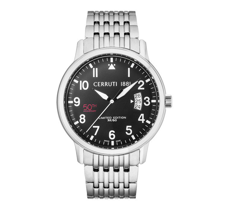 Cerruti 1881 50周年紀念款限量腕表,約22,400元。圖/Cerr...