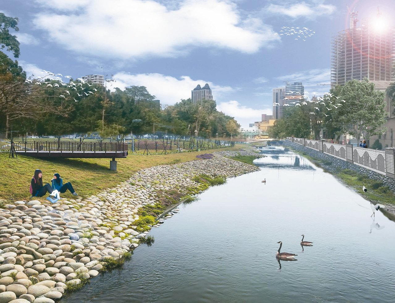 十全路滯洪池公園預計今年9月完工。圖為完工後示意圖。 圖/高市水利局提供
