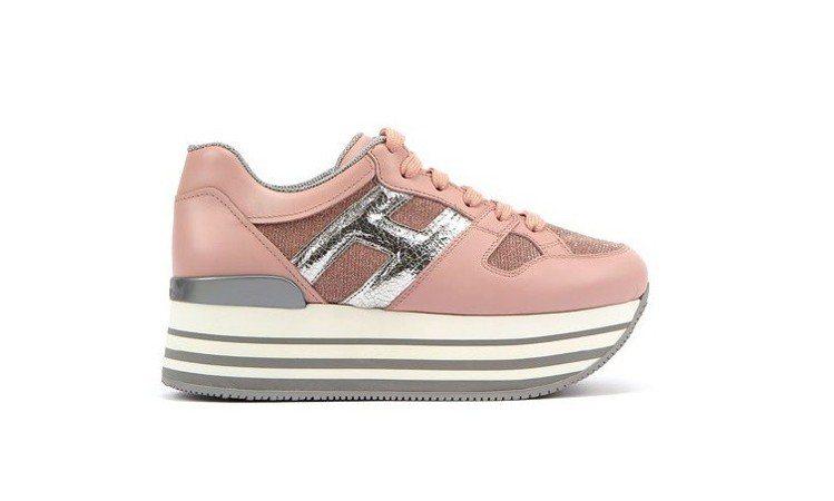 台灣限定款 HOGAN MAXI H222 粉紅拼接休閒鞋,20,600元。圖/...