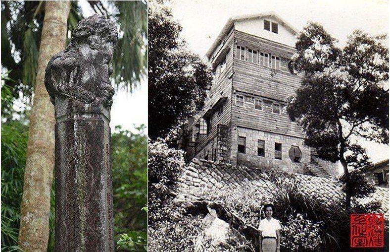 左:陳文瀾古墓華表與石獅子。右:北投空軍大樓拆除前。 圖/作者自攝、北投達人楊燁提供