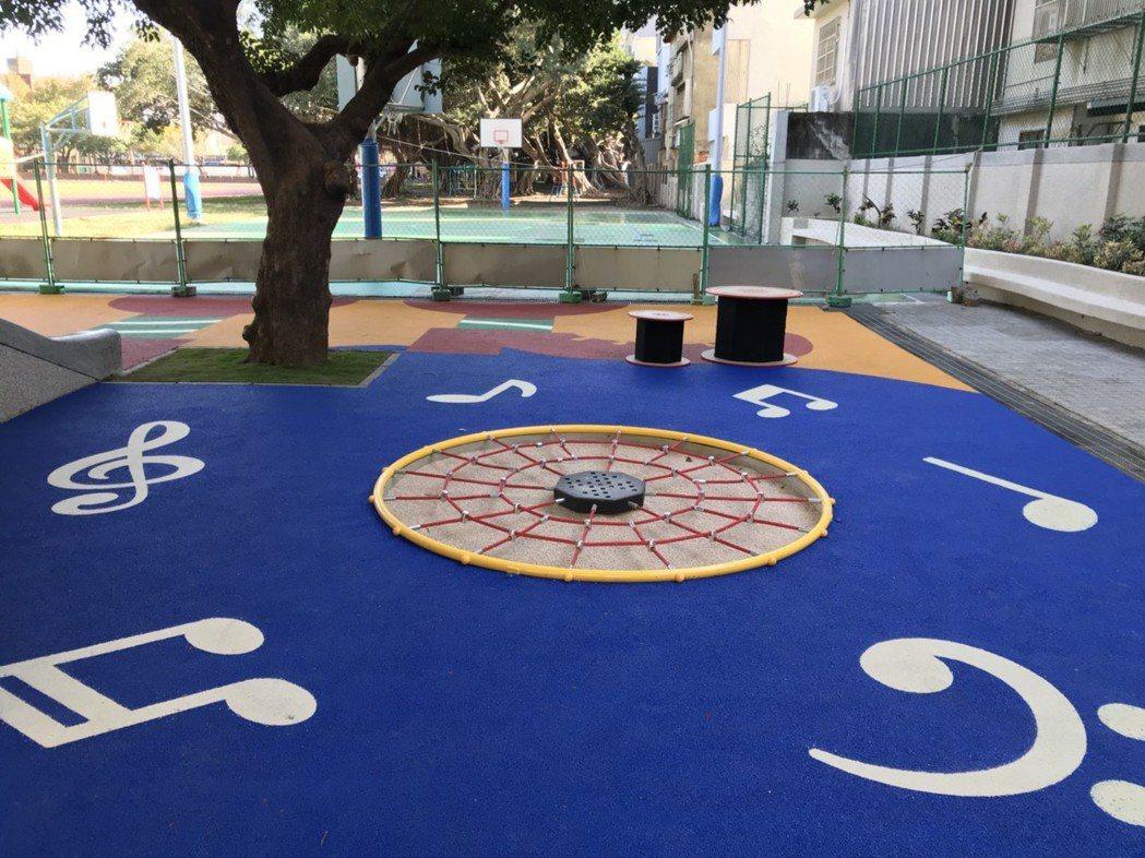 新竹市政府與學校攜手改善幼兒園遊憩環境,規劃共融式遊具,打造友善無障礙空間。 圖...
