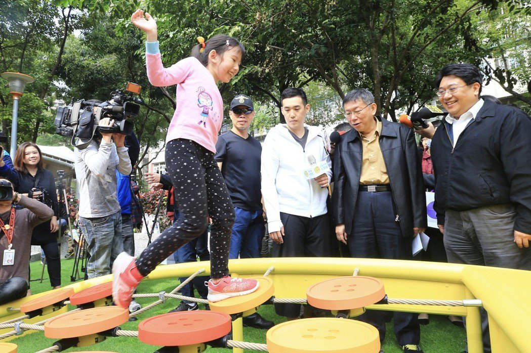 台北市長柯文哲上午出席「公園不再大眾臉」共融式遊戲場啟用。 記者林伯東/攝影