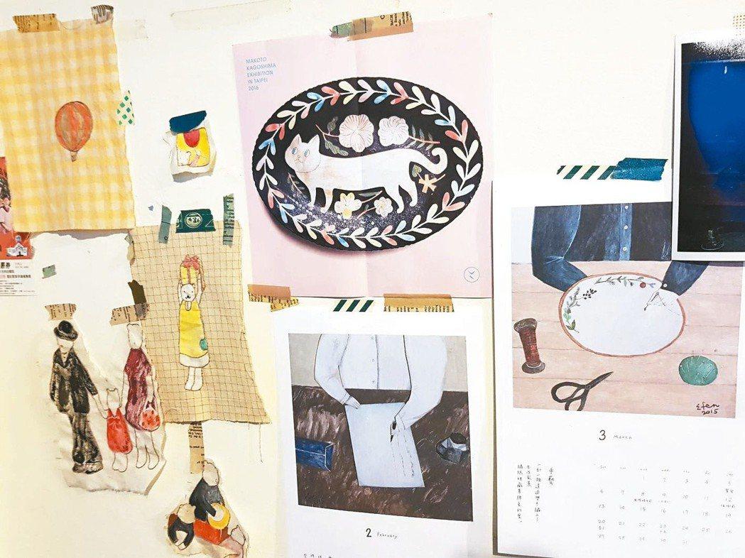工作室牆面貼著袁朝露的刺繡布樣和友人及陶藝家的插圖。圖/袁朝露提供