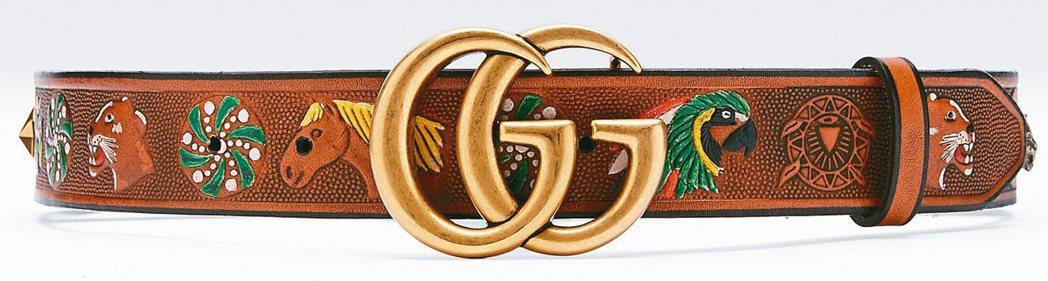 經典雙 G Logo棕色仿舊牛皮面料彩色動物圖騰透著野性時尚感●雙G...