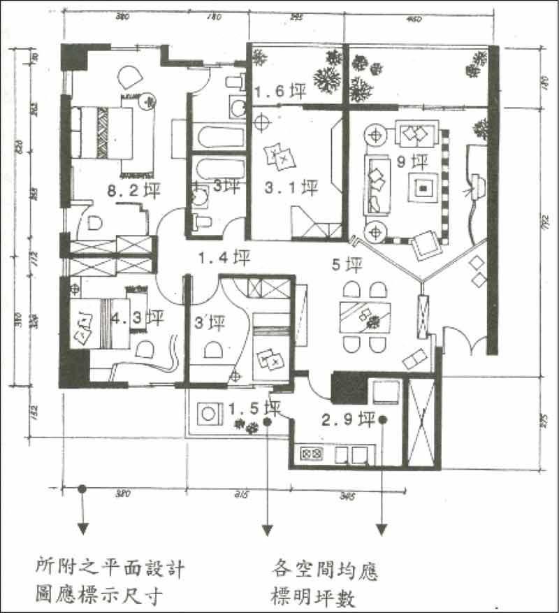 當前購屋第一要務,便是充分掌握各室內空間實際使用面積大小