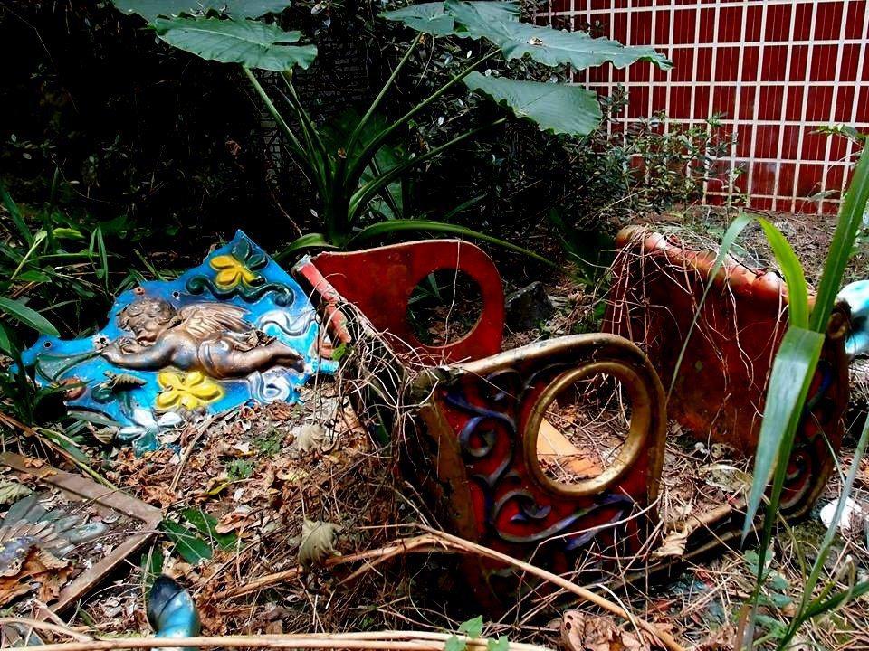 南投縣草屯鎮雙冬花園內的天使馬車殘破被隨意棄置,而遭藤蔓纏繞。圖/許姓讀者提供