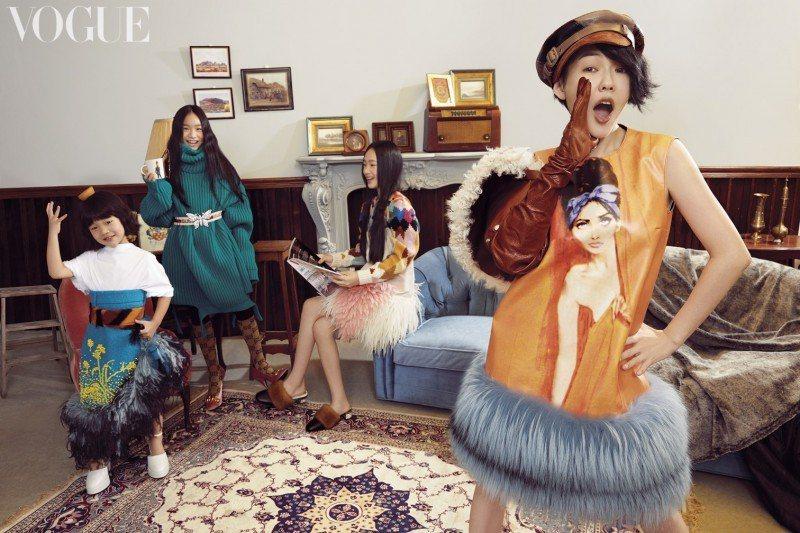 小S帶著三個女兒為雜誌拍寫真。圖/摘自Vogue