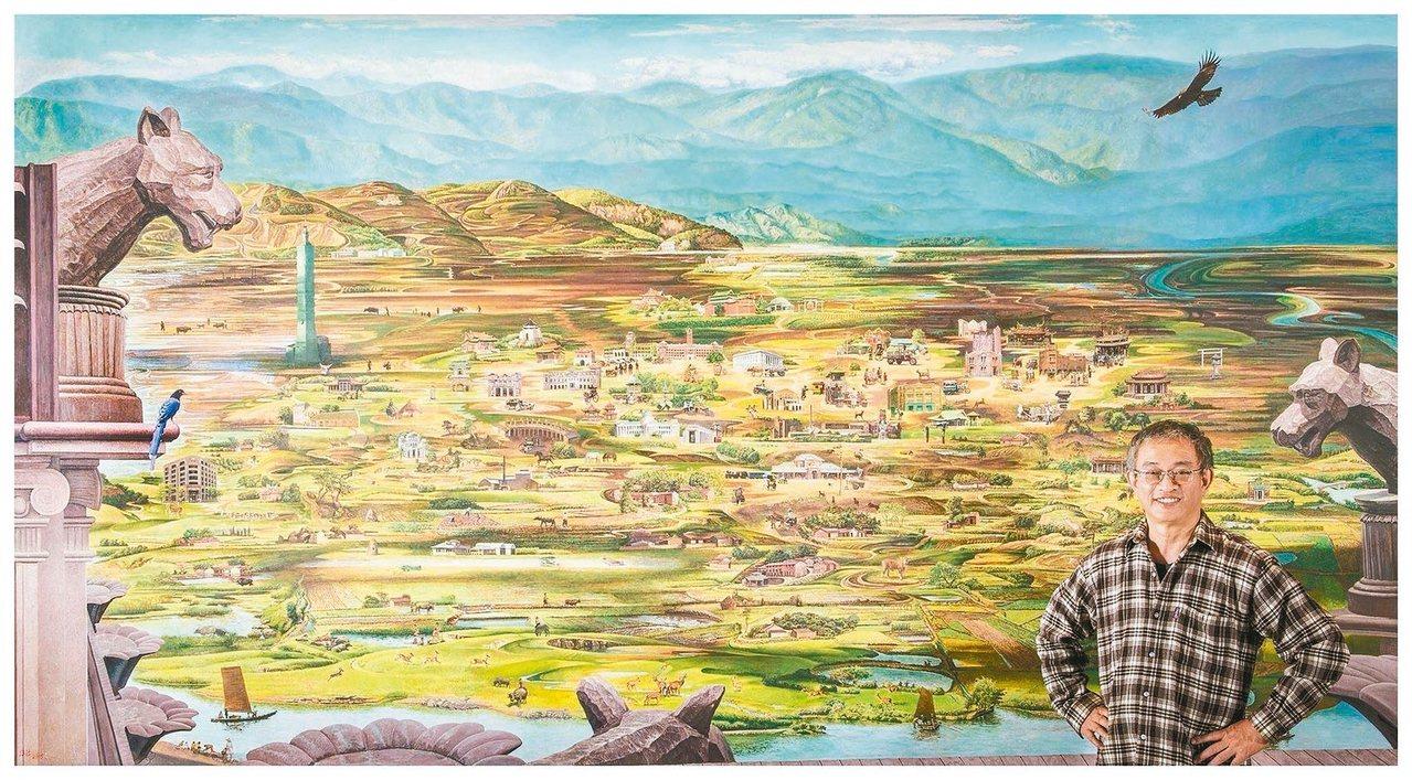 畫家劉得浪與其畫作。 劉得浪/提供