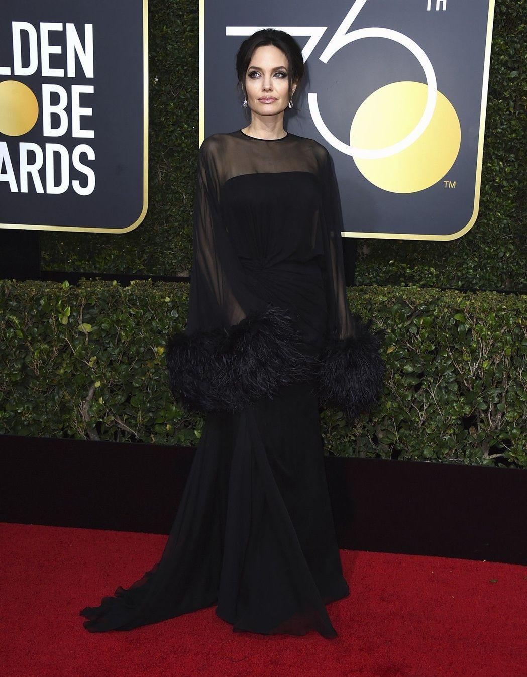 安潔莉娜裘莉選穿Atelier Versace的薄紗長袖禮服,袖口的羽毛裝飾更顯...