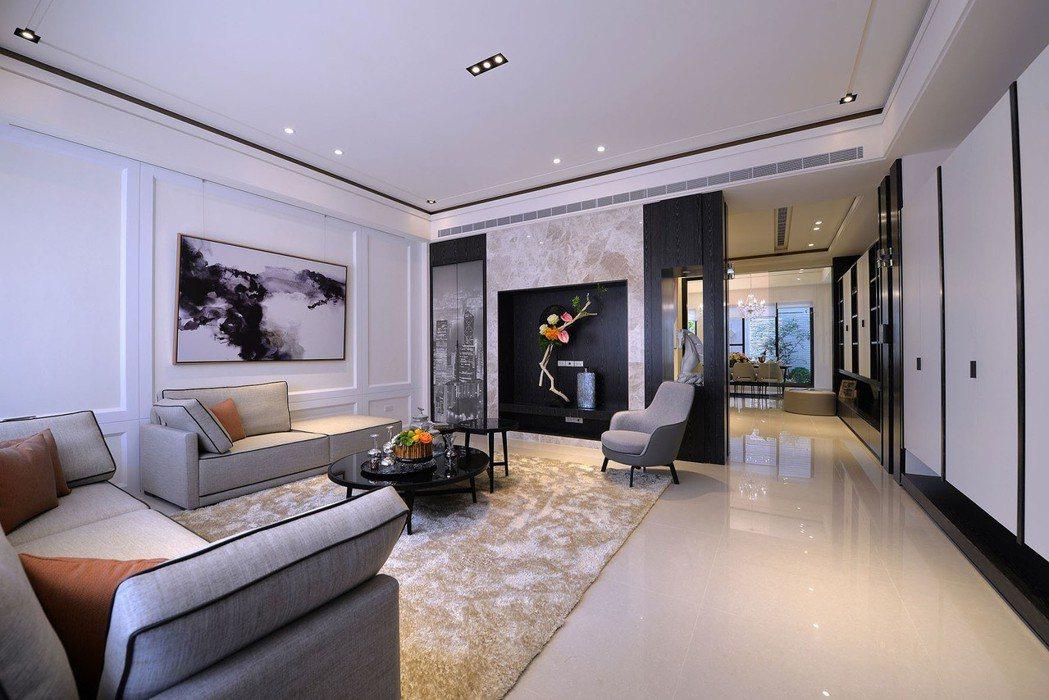 「和簷.悅舍」一樓大砌美學藝術客廳。 圖片提供/得邑建設