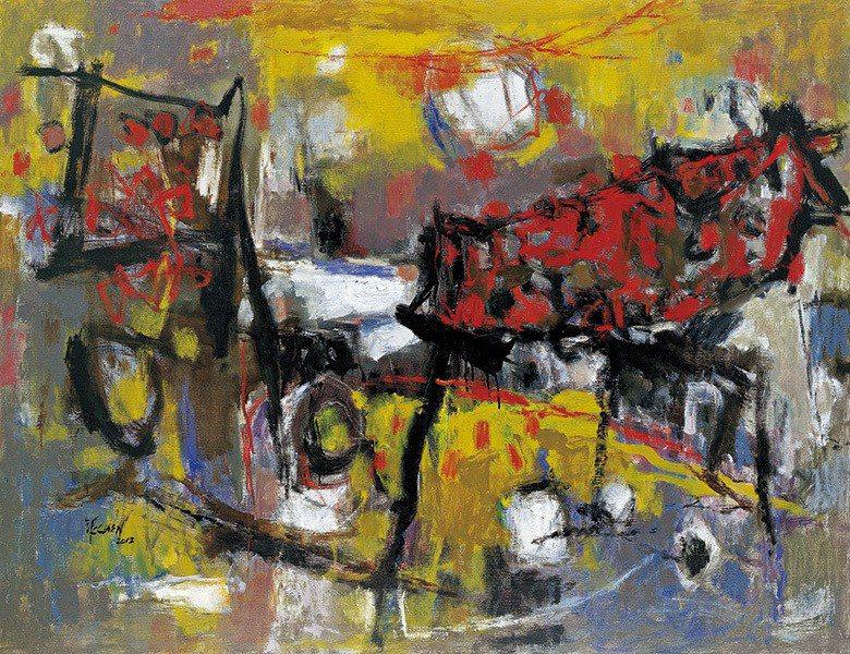 近年作品色彩強烈、注重抒情,圖為2012年的〈古厝情韻〉 【圖・陳銀輝】