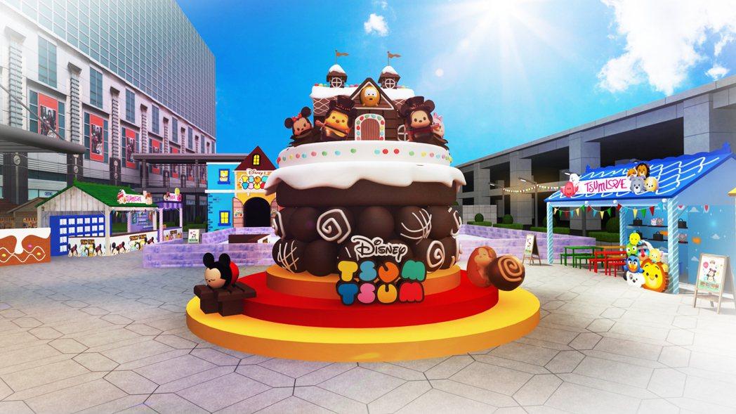 超巨型TSUM TSUM巧克力屋模擬圖。圖/台北101提供