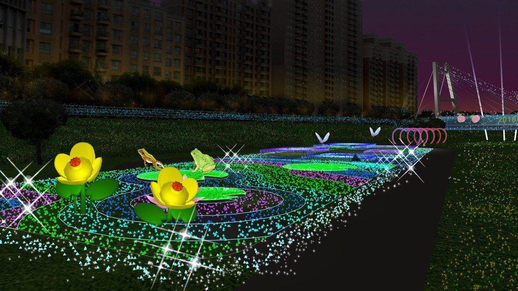 桃園燈節選在南崁溪畔舉行,其中蘆竹燈區呈現埤塘之美,藍白的燈光以湖中央為圓心散發...