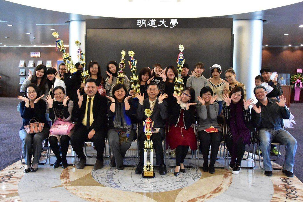 明道大學時尚系學生參加全國性美容比賽,奪三金二銀等亮眼成績。 明道大學/提供。