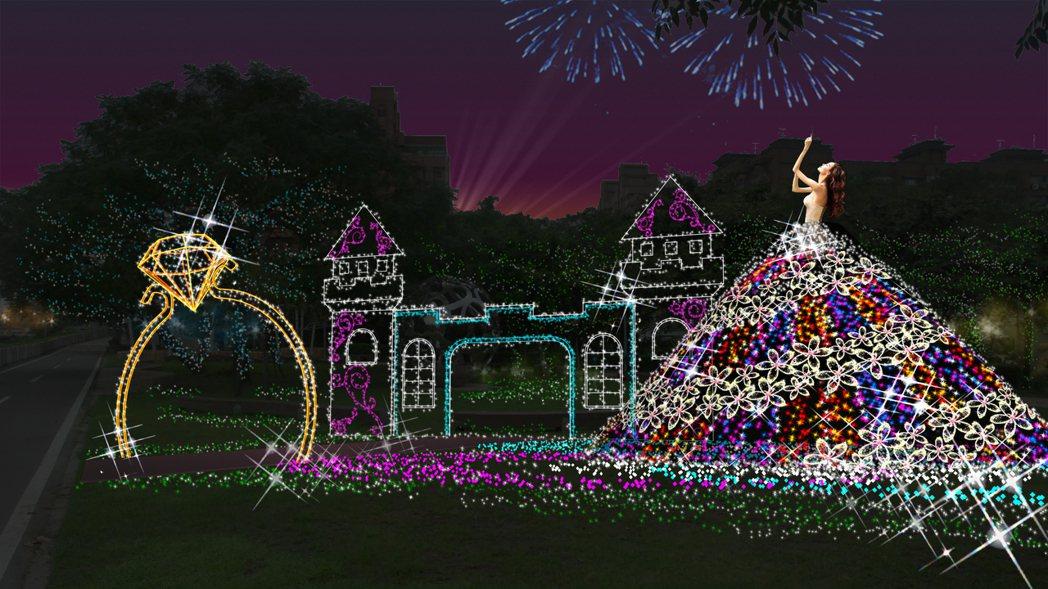 桃園區青溪橋展區以LED燈點綴的燈花,在夜晚閃爍,表現待嫁新娘的喜悅。圖/市府觀...