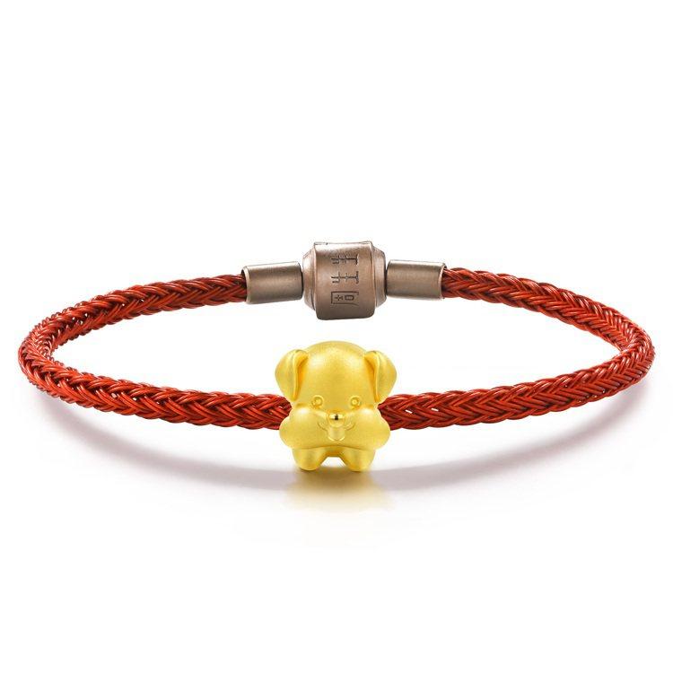 點睛品Charme「可愛系列」雪納瑞足金串飾附手環,6,200元。圖/點睛品提供