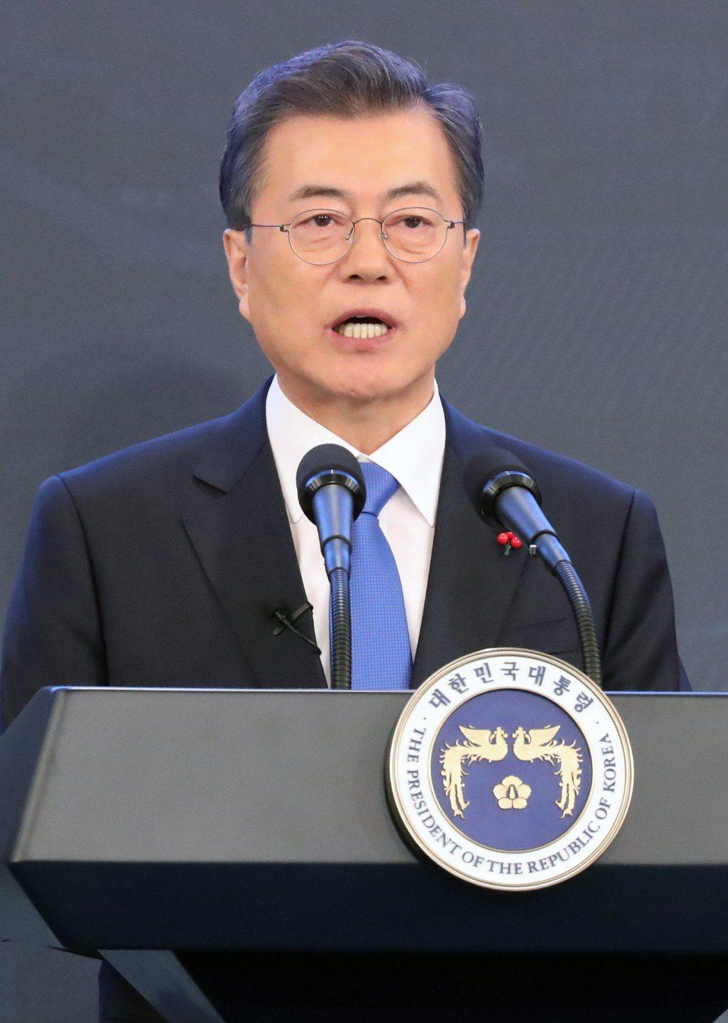 南韓總統文在寅今天上午開記者會。歐新社