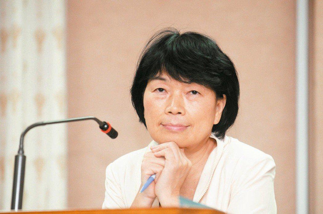 前文化部長龍應台在立院接受質詢,托腮動作遭立委批評。 圖/聯合報資料照