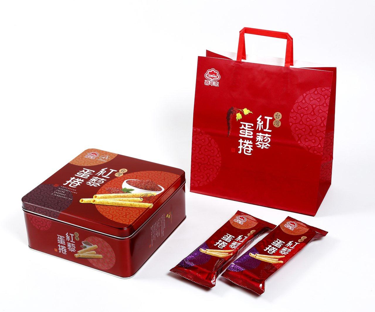 喜年來台灣紅藜蛋捲禮盒,大紅包裝送禮體面。圖/喜年來提供