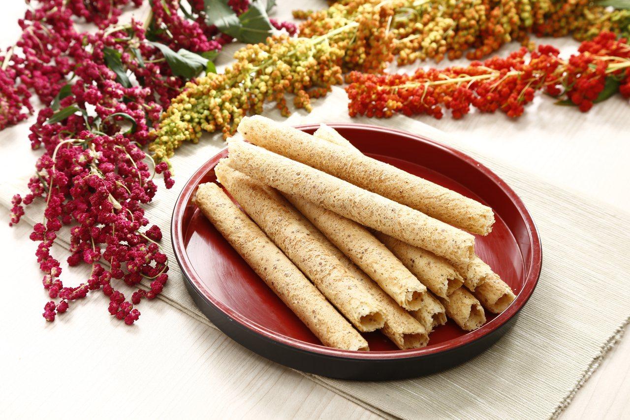 喜年來台灣紅藜蛋捲,選用台東原生種紅蔾製成。圖/喜年來提供