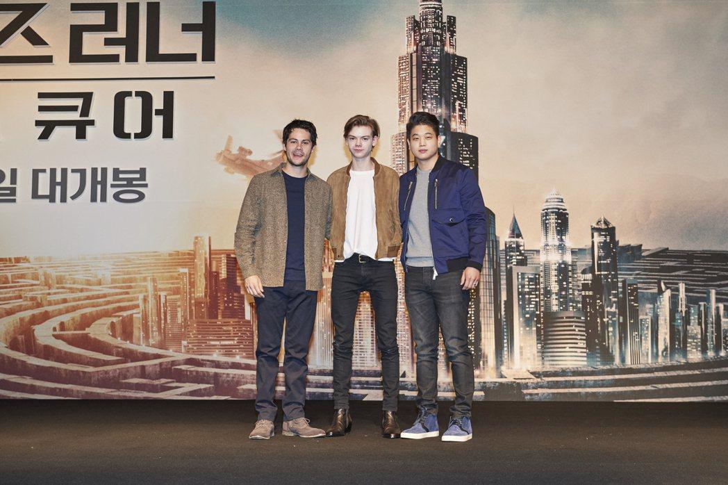 狄倫歐布萊恩(左起)、湯瑪士桑斯特、李基弘共同出席「移動迷宮:死亡解藥」南韓首爾...