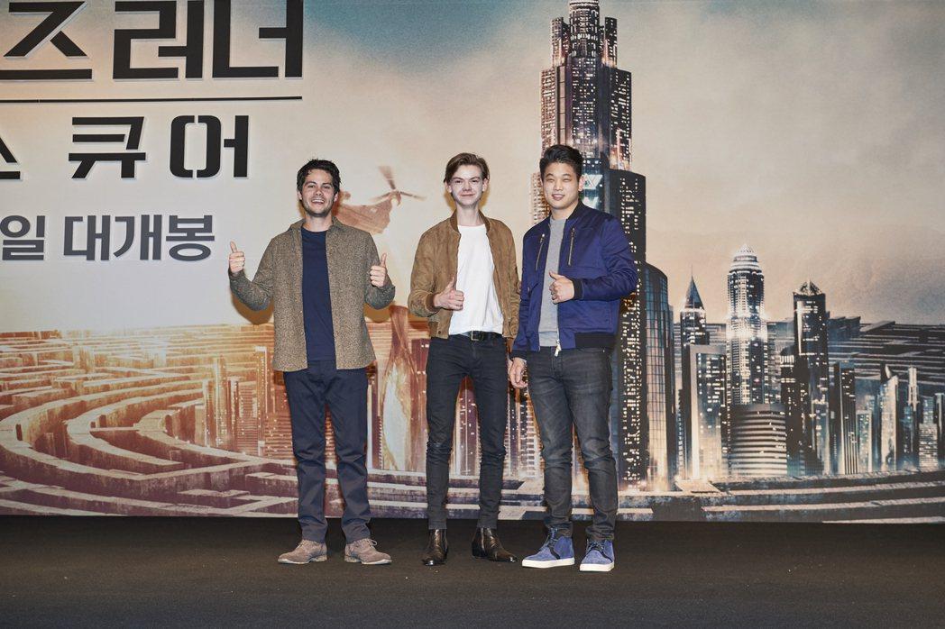 狄倫歐布萊恩(左起)、湯瑪士桑斯特、李基弘共同出席「移動迷宮:死亡解藥」南韓首爾