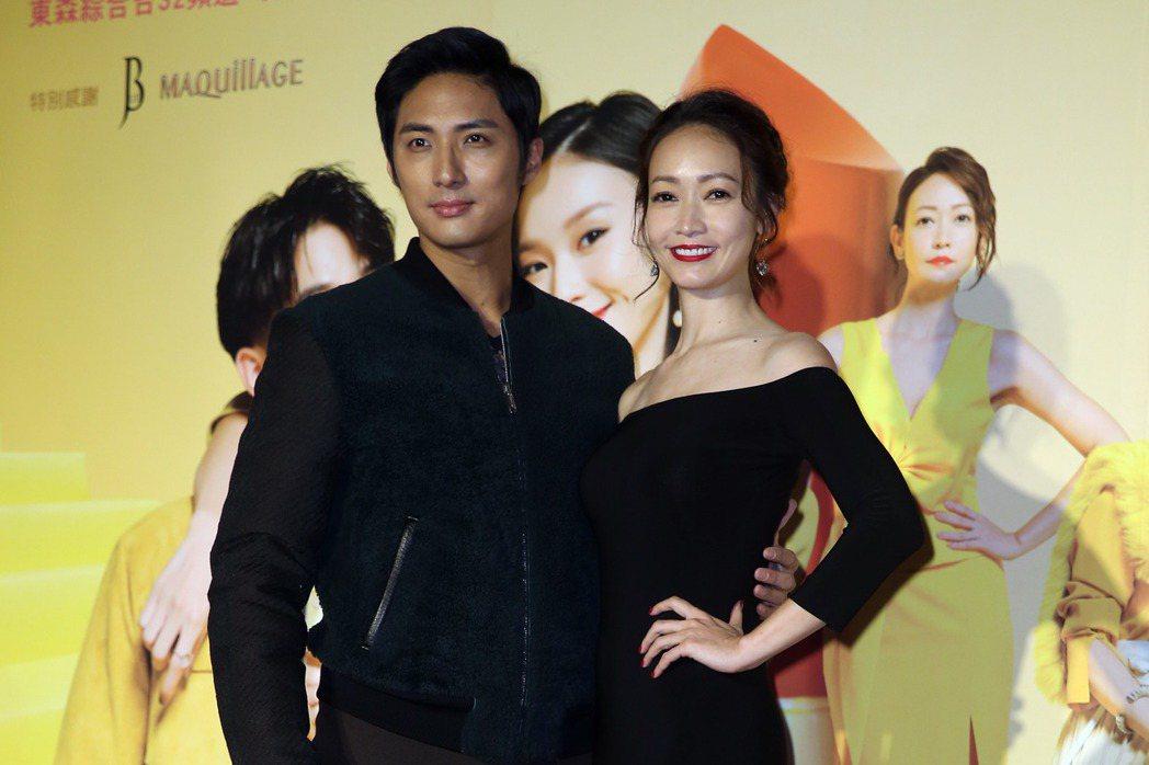 三立、東森新週五華劇 「姊的時代」 首映會,演員李運慶(左起)、潘慧如。記者曾吉