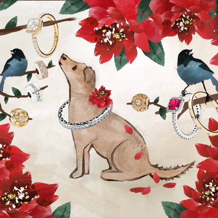 PANDORA特別與香港時尚插畫藝術家Gladdis So合作,打造可愛的小狗插...