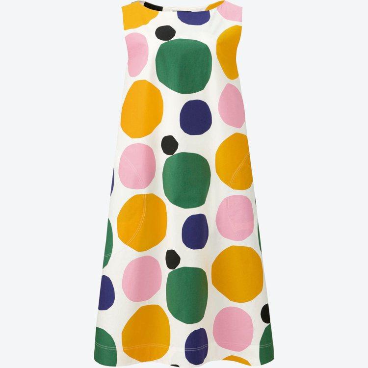 Marimekko× UNIQLO系列彩色經典石頭印花連身背心裙。圖/Marim...