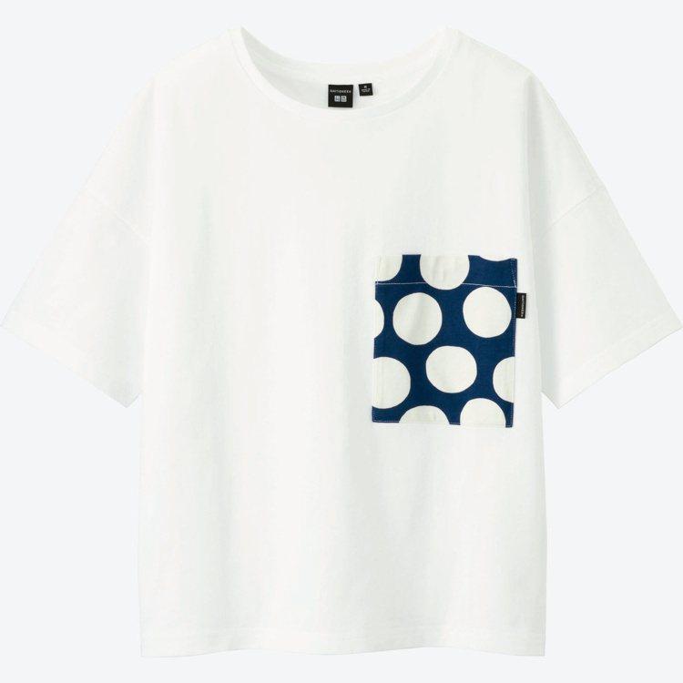Marimekko× UNIQLO系列Kivet印花白T恤。圖/Marimekk...