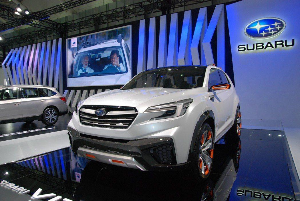 全新第五代 Subaru Forester 將擷取 Viziv Future Concept概念車的設計,並具有Subaru 四大核心科技,而 Viziv Future Concept概念車日前也有在 2018 世界新車大展中展出。圖為 Subaru Viziv Future Concept 概念車。 記者林鼎智/攝影