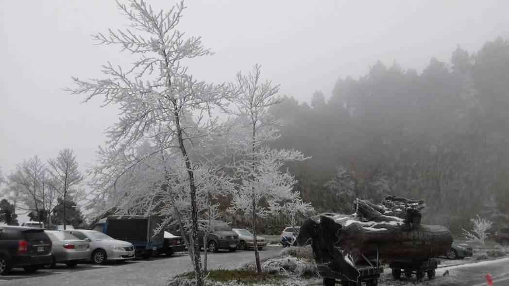太平山昨晚又下雪,雪景迷人,但道路結冰,部分路段交通管制,注意安全。圖/羅東林區...